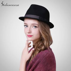 Autumn Winter Feamle Fedora Hats Europe woolen with women British Trilby Hat Fashion Wool Felt Hat Like if you remember #shop #beauty #Woman's fashion #Products #Hat