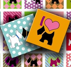 Digital Collage Sheet - I Love My Scottish Terrier 1 inch squares for your Artwork - DigitalPerfection digital collage sheet 663. $4.00, via Etsy.