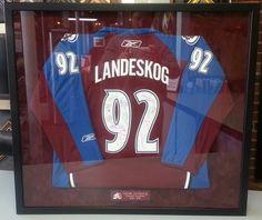 Custom framed Gabe Landeskog Colorado Avalanche jersey. Custom framed by FastFrame of LoDo.