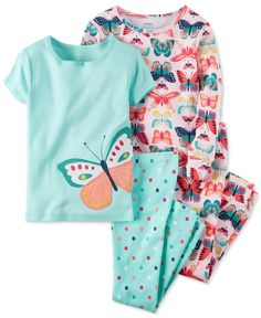 Beautiful butterflies flit across the soft and comfy tops and pants in this four-piece cotton pajama set by Carter's. | Cotton | Machine washable | Imported | Includes 2 tops and 2 pants | Appliqué to