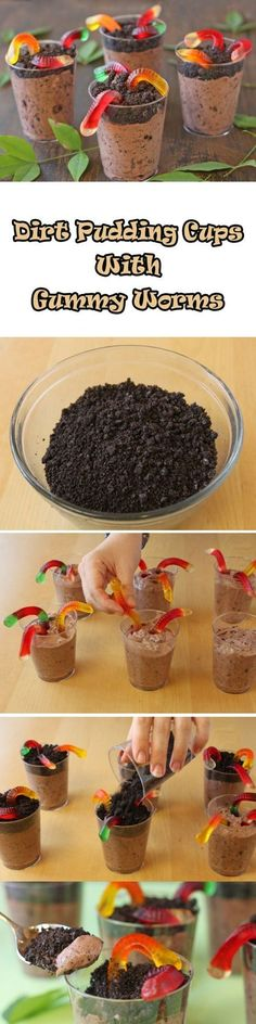 """Worms in Dirt"" may not sound appetizing, but the taste of this easy dessert will make you a believer! These chocolate pudding cups are decorated with crushed"