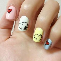 In the event you are interested in animated movies or cartoons, you can paint a cartoon nail art for the manicure. Here are some cartoon nail designs for you to pick & try out. Cute Nail Art, Cute Nails, Pretty Nails, Pastel Nails, Cute Acrylic Nails, Pretty Nail Designs, Nail Art Designs, Cartoon Nail Designs, Animal Nail Designs