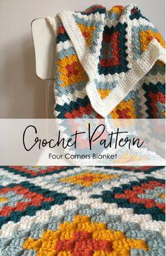 Crochet C2c, Crochet Square Blanket, Granny Square Crochet Pattern, Crochet Blanket Patterns, Crochet Crafts, Crochet Stitches, Crochet Projects, Stitch Patterns, Corner To Corner Crochet Pattern