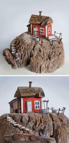 Christine Grandt - Treibholzkunst: maritime Geschenke, Design, Kunst, Schweden, Holz Skulptur Treibholz Haus Miniaturen #Holz #Geschenke # Treibholz # Design #Miniaturen #Skulptur