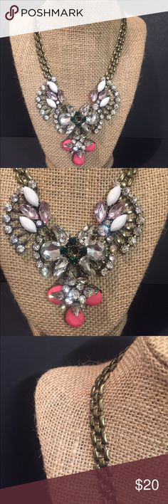 Crystal jewel bib collar necklace statement Ornate crystal necklace. Gold tone chain closure. Beautiful piece that pairs with so many outfits, dress up or down, and adds that special touch to your look. ____________________________________I am a one man band, however, I strive to assure customer satisfaction. All items sold are costume jewelry that is either vintage costume jewelry or custom retro style jewelry, unless otherwise stated. Jewelry Necklaces