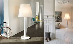 DESIGN BYESTELA+NEREO  (2009)    Big Mama is a large floor lamp made out of paper and wood – basic and eco friendly Nordic materials – that are used for the shade and the body respectively.
