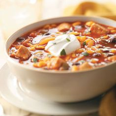 Mexican Chicken Soup-made in the crock pot and perfect for a busy day with the kids.  Serve with assorted garnish...cheese, sour cream, cilantro, etc.