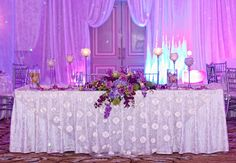 Purple head table | Photo: Jeff Kolodny Photography