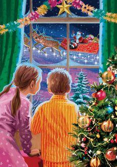 Merry Little Christmas, Christmas Love, Christmas Pictures, Beautiful Christmas, Christmas Decor, Christmas Paintings On Canvas, Christmas Artwork, Images Vintage, Vintage Christmas Images