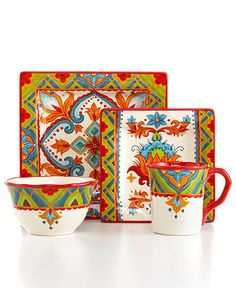 Espana Dinnerware, Pasha Square 4 Piece Place Setting - Casual Dinnerware - Dining & Entertaining - Macy's