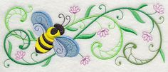 Honeybee Blossoms Border Embroidered Terry by forgetmeknottreasure.etsy.com