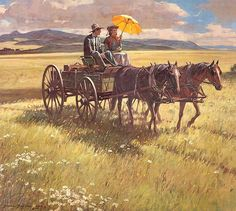 Just Married by Duane Bryers. BonzaSheila Presents The Art Of Love Archives For November, 2006 Art Transportation, Art Of Love, West Art, Cowboy Art, Le Far West, Country Art, Country Life, Old West, Horse Art