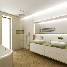 Large kids bathroom with green accents Green Accents, Alcove, Bathtub, Czech Republic, Bathrooms, Kids, Design, Standing Bath, Young Children
