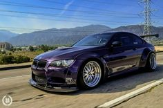 BMW E92 M3 purple widebody deep dish slammed