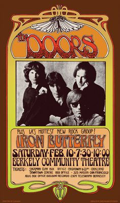 The Doors - Iron Butterfly 1960s Art Nouveau concert poster & The Doors vintage repro concert poster USA | eBay --Pretty wild ... Pezcame.Com