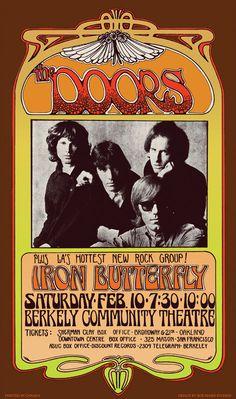 Cartaz para o show de The Doors em 1968 em Berkeley, California. Arte original de Bob Masse sobre fotografia de Joel Brodsky. Veja mais em: http://semioticas1.blogspot.com.br/2013/12/jim-morrison-aos-70.html