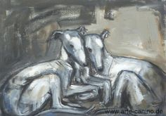 Two cuddling sighthounds/greyhounds/galgos, Acrylic on canvas, 50 x 70 cm