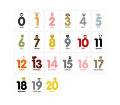 Animal Numbers Flash Cards 020 Printable PDF by loopzart on Etsy, $6.00