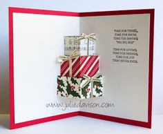 VIDEO Tutorial for Stampin' Up! Your Presents Season of Cheer Christmas Pop Up Presents Card Diy Christmas Cards Pop Up, Christmas Pops, Printable Christmas Cards, Stampin Up Christmas, Xmas Cards, Holiday Cards, Christmas Crafts, Christmas Present Card Ideas, 3d Christmas Tree Card