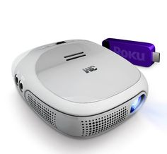 Streaming Projector ~ under 1#, palm-sized pod, 60 lumen will project up to 120 inches on the wall, using Roku streaming stick for a wifi media