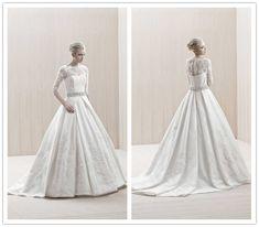 long sleeve high neck beaded lace wedding