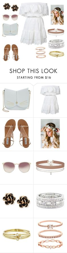 """Beach babe"" by missheru on Polyvore featuring Ted Baker, LoveShackFancy, Emily Rose Flower Crowns, Linda Farrow, Miss Selfridge, Chantecler, Sole Society, Jennifer Meyer Jewelry and Accessorize"