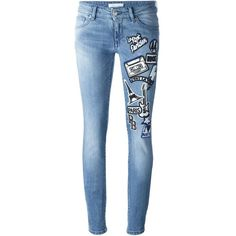 Pierre Balmain Jeans With Stickers (5 925 SEK) ❤ liked on Polyvore featuring jeans, light blue, skinny jeans, pierre balmain, denim skinny jeans, patching blue jeans and pierre balmain jeans
