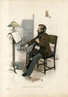 1897 Anton Von Werner Cello Playing Antique Engraving Folio Print F Gehrke | eBay