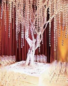 silver wedding tree with hanging crystals