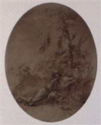 A philosopher in meditation in a landscape by Salvator Rosa