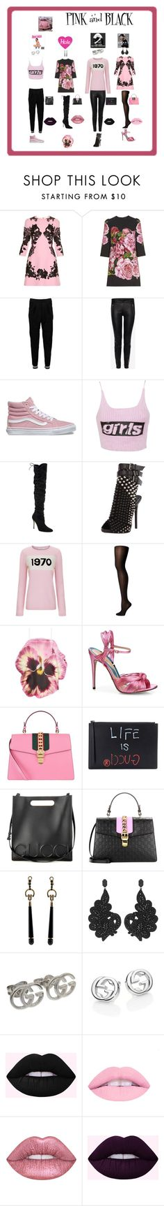 """""""PINK AND BLACK"""" by giagiagia ❤ liked on Polyvore featuring Dolce&Gabbana, Boohoo, Alexander McQueen, Vans, Alexander Wang, Manolo Blahnik, Giuseppe Zanotti, Bella Freud, Wolford and Christopher Kane"""