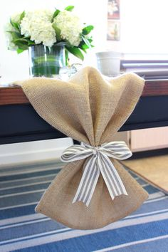 Burlap Table Runner with bow LINED Table Cloth by MonarcaDesigns, $10.00