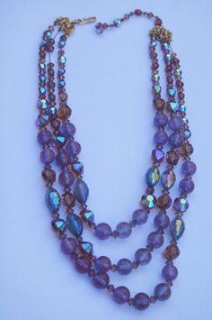 VINTAGE Rare Signed HOBE Saphiret 3 strand Necklace NEEDS Repair restrung N/R…