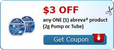 New Coupon!  $3.00 OFF any ONE (1) abreva® product (2g Pump or Tube)! - http://www.stacyssavings.com/new-coupon-3-00-off-any-one-1-abreva-product-2g-pump-or-tube/