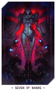 Saren as The Seven of Wands - Mass Effect Tarot Tali Mass Effect, Mass Effect Games, Mass Effect Reapers, Thane Krios, Mass Effect Universe, Commander Shepard, Dragon Age, Tarot Cards, Game Art