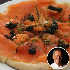 WOLFGANG PUCK'S PIZZA WITH SMOKED SALMON AND CAVIAR Claim to fame: Puck is the owner of Spago restaurant in Beverly Hills and has catered the post-Academy Awards celebrity banquet for the past 14 years.