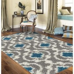 Shop for Cozy Moroccan Trellis Grey/Turquoise Indoor Shag Area Rug (5'3 x 7'3)…
