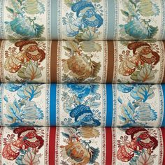 The iconic La Portugaise design, originally introduced in 1968, was famously used by Albert Hadley to decorate Brooke Astor's library. Four new colors have been introduced to accompany the classic brown, including (from top) aqua, russet, blue, and red. 52% linen, 36% cotton, 12% nylon