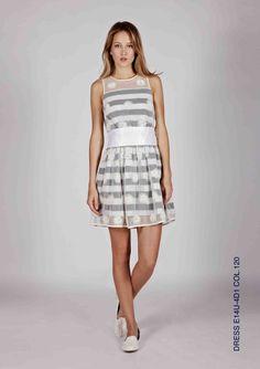 abito in cotone stampato doppiato in tulle stampato con fantasia a pois