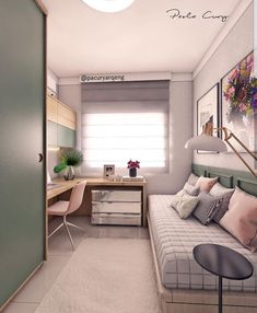 Room Design Bedroom, Small Bedroom Designs, Small Room Design, Home Room Design, Small Room Bedroom, Home Office Design, Bedroom Decor, Interior Office, Office Interiors