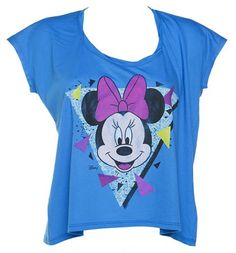 Ladies Blue Cropped Retro 90's Minnie Mouse T-Shirt  from Junk Food  £31.99