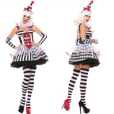 Funny Harley Quinn Costume Women Adult Female Clown Circus Cosplay Carnival Halloween CostumesDress+headwear+glove For Women Clown Costume Women, Clown Halloween Costumes, Halloween Outfits, Costumes For Women, Women Halloween, Halloween 2016, Clown Dress, Clown Suit, Costume Dress