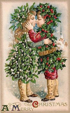 VINTAGE CHRISTMAS POSTCARD - Holly Children