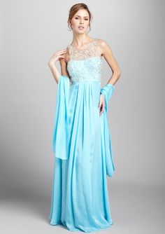 THEIA  Silk Gown with Crystal Beaded Bodice