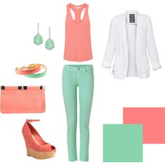 coral & mint created by haleywarford on Polyvore