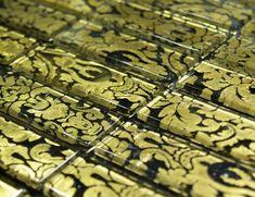 Aria 623 Luxury Black Gold Decoration Murano Glass Italian Mosaic Tile
