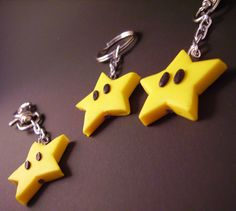 Mario Star Keyring / Bag charm Handmade with polymer clay perfect gamer gift…