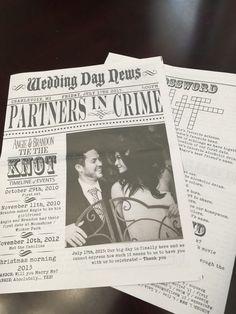 custom newspaper wedding program by ScriptedEverAfter on Etsy https://www.etsy.com/listing/230749865/custom-newspaper-wedding-program