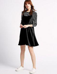 Velvet Dress & Striped Top Set