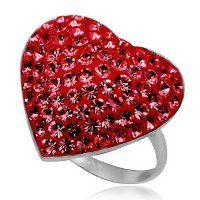Strieborné prstene so Swarovski krištálmi a Zirkónmi Heart Jewelry, Swarovski, Red